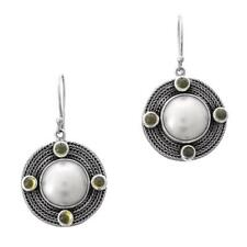 "7/8"" MABE PEARL PERIDOT 925 STERLING SILVER earrings"