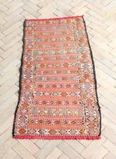 Vintage Retro Geometric Moroccan Berber Kilim Tribal Rug 130 x 65cm