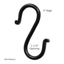 "2 Black Wrought Iron ""S"" Hooks ~ 4"" High"