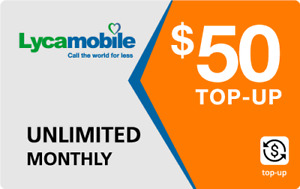 Lyca Mobile  Prepaid $50 Refill Top-Up Prepaid Card ,PIN / RECHARGE /REFILL