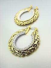 EXQUISITE Designer 18kt Antique Gold Plated Cable CZ Crystals Hoop Earrings