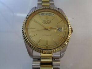 Bulova Super Seville Mens Watch Day & Date Split Calendar  Gold Dial 2 tone