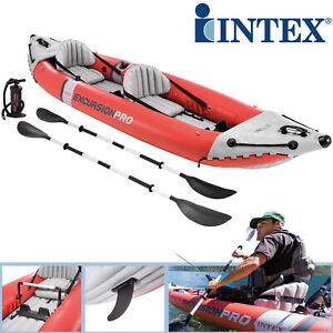 Intex Excursion Pro 2 Kajak Boot Schlauchboot Angelboot Aufrüstung  Pumpe Paddel