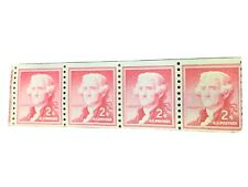 US Stamps  Thomas Jefferson 2 Cent Rose Caramine Strip Of 4  Sc#1033 NG