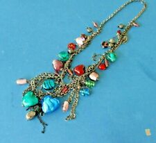 Vintage necklace with coloured glass stones heart & oval shapes metal chain