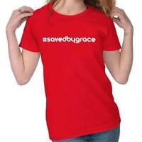 Womens #savedbygrace Religious Jesus Christ Cool Christian Ladies T-Shirt TShirt