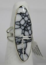 Navajo Indian Ring White Buffalo Turquoise Inlay Oval Size 7 Sterling Silver Har