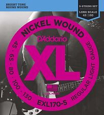 D'Addario EXL170-5, 5-String Bass Guitar Strings, Light, .045 - .130 Long Scale