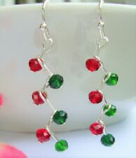 Sparkling Green Red Crystal ZIGZAG Silver Dangle Earrings Christmas Holiday