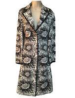 EAST Women's UK 12 Duster Trench Coat Tailored Overcoat Floral Monochrome Formal