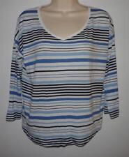 J. Jill Multi-Stripe V-Neck Knit Tee Top Size S Blue Black Rayon & Tencel