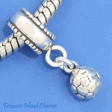 SOCCER BALL Dangle .925 Solid Sterling Silver EUROPEAN EURO Bead Charm