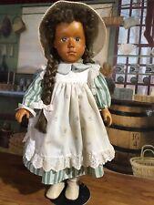 """18""""Pretty Vintage Wooden Zasan Girl Doll W Long Braids"""