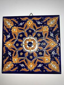 Niarchos Hellas Ceramic Hanging Tile Handmade Blue Orange White Greece 6 X 6