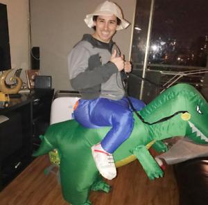 Adulto verde Gonfiabile Jurassic World Park Dinosauro T-Rex Costume Vestito