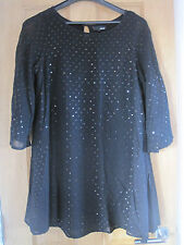 Women's NEXT  black sequinned bat winged goth style lined floaty dress size 10*