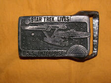 RARE STAR TREK LIVES USS ENTERPRISE PEWTER BELT BUCKLE