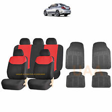 13PC RED ELEGANT AIRBAG SEAT COVERS & BL RUBBER MATS FOR CARS 3863