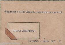 # AUGURALI: POZZOLO 1932- CARTONCINO PARTECIPAZIONE PER LA NASCITA