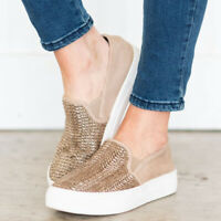 Womens Ladies Casual Knitted Round Toe Platform Flats Heel Slip On Loafers Shoes