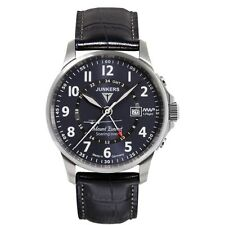 Junkers Herrenuhr Uhr Mount Everest Fliegeruhr Datum Leder Blau 6844-3