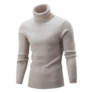 Men's Sweater Twist Solid Color T-Shirt Bottomed High Collar Winter Sweater