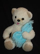 Snuggle Teddy Bear with Blue Blanket Cream c2000 Lever Brothers Plush 10""