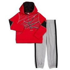 NEW ASICS Boy's Hooded Jacket Sweat Pants 2 Piece Set Red/Grey 2T