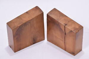 Handmade Solid Yew Wood Polished Book Ends Study Office Ornamental