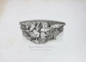 Ancient Sculpture York Cathedral, Antique Print Miniature 1817 Greig, Stanley