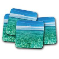 4 Set - Beautiful Maldives Coaster - Blue Sky Ocean Holiday Travel Gift #14930