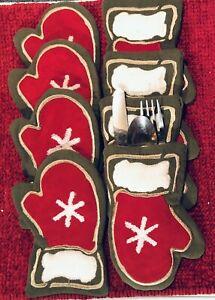 Set Of 8 Christmas Green Corduroy Red Front/ White Snowflake Silverware Holder