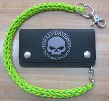 Neon Green and Yellow 3 Pin Weave 550 USA Made Paracord Biker Wallet Chain 1%