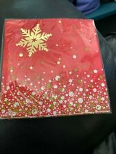 Gold Sparkle Christmas Beverage Napkins (16) 2-Ply New!!!