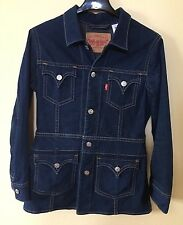 LEVI'S Anthropologie Long ICONIC Denim Stretch TYPE 1 Jean Jacket Western Coat L