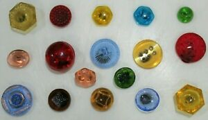 Lot of 17 Vintage Depression Glass Buttons-99 CENT START