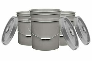 5 Gallon Food Grade Buckets BPA Free with lids pails 90mil (Pack of 3)