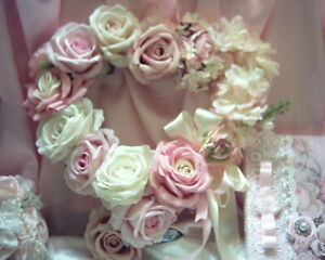 Shabby Victorian Chic Rose Heart Wreath~Lots of Pink~Pink Accents