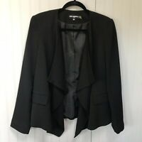 Karl Lagerfeld Paris Sz 12 Black Waterfall Open Front Blazer Jacket