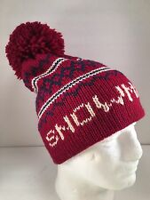 Vintage Snowmass Pom Pom Ski Hat Cap 100% Wool Snowboard Marceau Sports