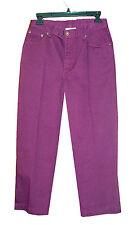 NWT $40.00 jeanology Purple Cotton Denim Cropped Capris Jeans-6*