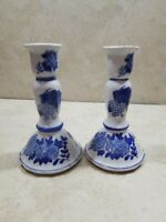 """Chinese Porcelain Blue & White Candle Stick  Holder Pedestal 7""""Tall"""