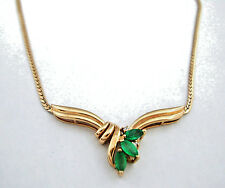 14K Yellow gold Emerald and Diamond necklace  17""