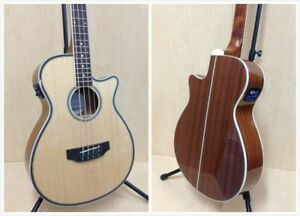 Haze FB-711BCEQ/N 4-String 3/4 Size Electric-Acoustic Bass Guitar,Natural+Bag