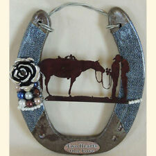 Western Wedding, Blue Denim Cowboy Horseshoe Wallhanging & Ringbearer
