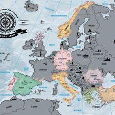 Poster Europa Europakarte Rubbel Landkarte zum Rubbeln Scrape Off Europe Map EU