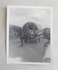 Vintage 1960s B/W Photograph. Romany Horse & Caravan. Teenage Girls. Traffic Jam