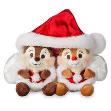 "CHIP 'N DALE Holiday Christmas 6"" Plush Set 2017 Shared Santa Hat Disney Store"
