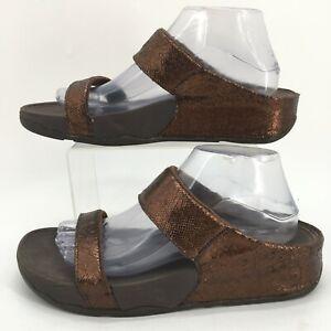 FitFlop Lulu Lustra Slide Sandal Womens 10 Brown Metallic Flip Flop 406-012