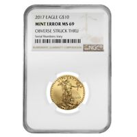 2017 1/4 oz $10 Gold American Eagle NGC MS 69 Mint Error